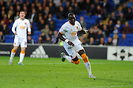 Mohamed Diame of Hull city celebrates after he scores his teams 1st goal. Skybet football league championship match, Cardiff city v Hull city at the Cardiff city stadium in Cardiff, South Wales on Tuesday 15th Sept 2015.<br /> pic by Andrew Orchard, Andrew Orchard sports photography.