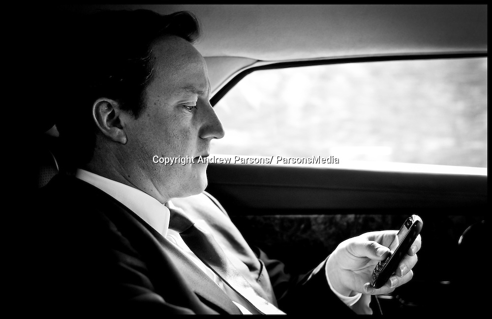 The Prime Minister David Cameron traveling back in his car to his West Oxfordshire office during the Libya crisis, Friday April 15, 2011. Photo By Andrew Parsons/ Parsons Media
