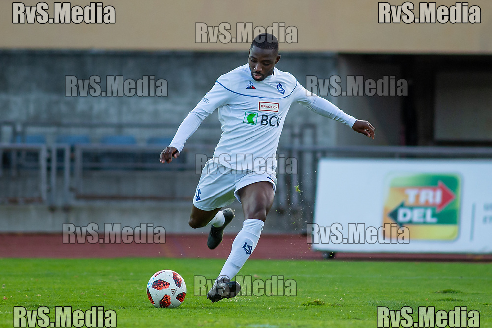 LAUSANNE, SWITZERLAND - NOVEMBER 10: #11 Anthony Koura of FC Lausanne-Sport in action during the Challenge League game between FC Lausanne-Sport and FC Schaffhausen at Stade Olympique de la Pontaise on November 10, 2019 in Lausanne, Switzerland. (Photo by Monika Majer/RvS.Media)