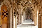 Duke Chapel arcade with door on left