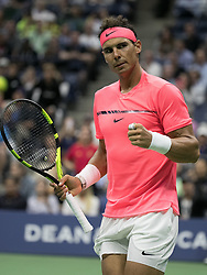 September 6, 2017 - Flushing Meadows, New York, U.S - Rafael Nadal celebrates after winning his match on Day Ten of the 2017 US Open against Andrey Rublev at the USTA Billie Jean King National Tennis Center on Wednesday September 5, 2017 in the Flushing neighborhood of the Queens borough of New York City. 6-1, 6-2, 6-2. JAVIER ROJAS/P (Credit Image: © Prensa Internacional via ZUMA Wire)