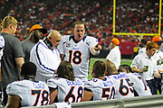 Sept 17, 2012, Atlanta, Georgia, USA; Peyton Manning of the Denver Broncos talks to his offensive line during the game against the Atlanta Falcons at the Georgia Dome.