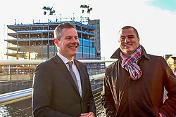 Finance Secretary Derek Mackay, left, and Scottish Enterprise Chief Executive Steve Dunlop visited the Barclays Bank construction site at Tradeston, Glasgow. Pic: Terry Murden @edinburghelitemedia