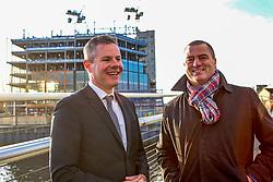 Finance Secretary Derek Mackay, left, and Scottish Enterprise Chief Executive Steve Dunlop visited the Barclays Bank construction site at Tradeston, Glasgow. Pic: Terry Murden @edinburghelitemedia
