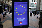 Advertising board for British Bank Nat West depicting the European flag in Birmingham, United Kingdom. Given that the UK is now triggered article 50 to begin Brexit, the emblem for Europe and the EU seems a sad illustration.