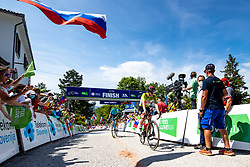 Matteo SOBRERO of ASTANA - PREMIER TECH and Tadej POGACAR of UAE TEAM EMIRATES in the finish during the 4th Stage of 27th Tour of Slovenia 2021 cycling race between Ajdovscina and Nova Gorica (164,1 km), on June 12, 2021 in Slovenia. Photo by Matic Klansek Velej / Sportida