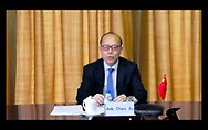 Modern propaganda in the Coronavirus war. Screen grab of Geneva's ambassador to the United Nations Chen Yu during an online press breifing to members of ACANU (Association of correspondents to the United Nations in Geneva), in which he showed a Chinese cartoon film 'Once upon a Virus', attacking the United States.