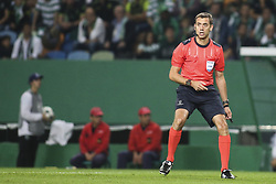 October 31, 2017 - Lisbon, Portugal - French referee Clement Turpin in action during the Champions League  football match between Sporting CP and Juventus FC at Jose Alvalade  Stadium in Lisbon on October 31, 2017. (Credit Image: © Carlos Costa/NurPhoto via ZUMA Press)