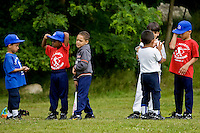 WATERBURY, CT - 09 JULY 2009 -070909JT02-.Young members of the 3-6 age group of the Liga Deportiva Latino Americano line up for their turn at the tee during baseball practice at Hamilton Park in Waterbury on Thursday..Josalee Thrift Republican-American