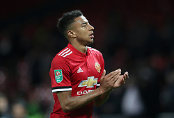 """Manchester United's Jesse Lingard reacts after the final whistle during the Carabao Cup, Third Round match at Old Trafford, Manchester. PRESS ASSOCIATION Photo. Picture date: Wednesday September 20, 2017. See PA story SOCCER Man Utd. Photo credit should read: Martin Rickett/PA Wire. RESTRICTIONS: EDITORIAL USE ONLY No use with unauthorised audio, video, data, fixture lists, club/league logos or """"live"""" services. Online in-match use limited to 75 images, no video emulation. No use in betting, games or single club/league/player publications"""
