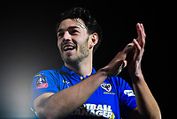 Football - 2018 / 2019 Emirates FA Cup - Fourth Round: AFC Wimbledon vs. West Ham United<br /> <br /> AFC Wimbledon's Will Nightingale celebrates at the final whistle after their 4-2 victory, at Cherry Red Records Stadium (Kingsmeadow).<br /> <br /> COLORSPORT/ASHLEY WESTERN
