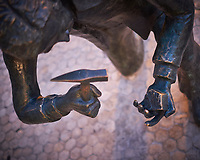 Bronze Statue of a Cobble Stone Worker. Image taken with a Fuji X-T3 camera and 35 mm f/1.4 lens.