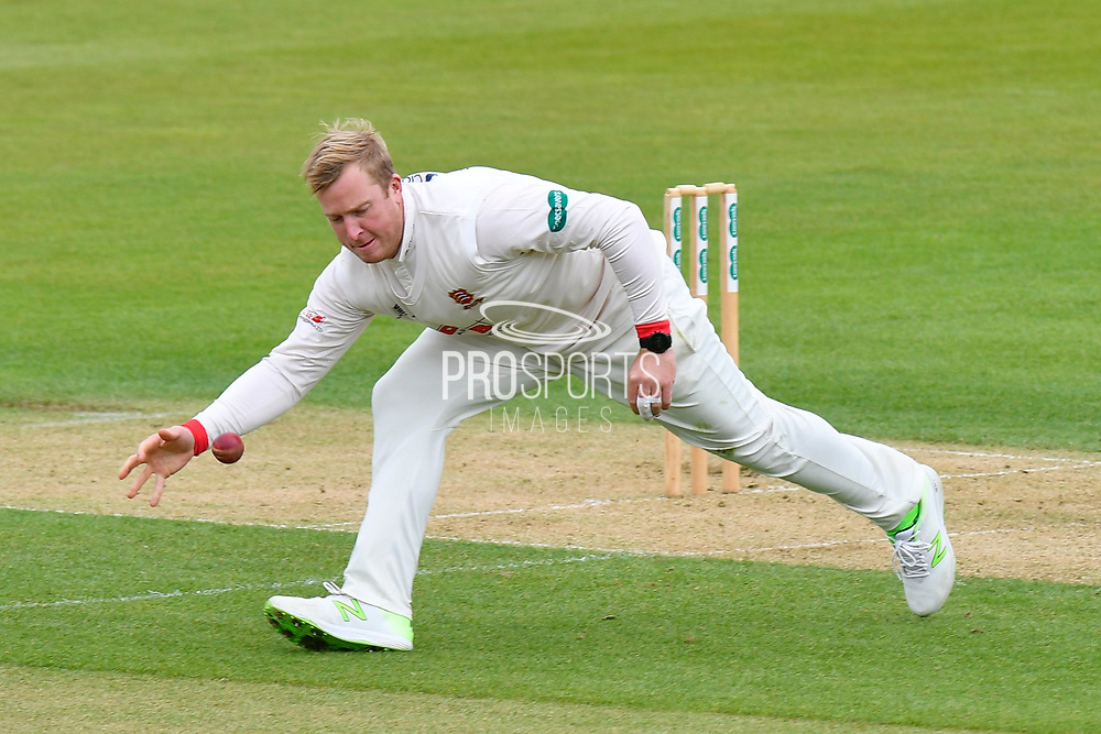 Simon Harmer of Essex during the first day of the Specsavers County Champ Div 1 match between Hampshire County Cricket Club and Essex County Cricket Club at the Ageas Bowl, Southampton, United Kingdom on 5 April 2019.