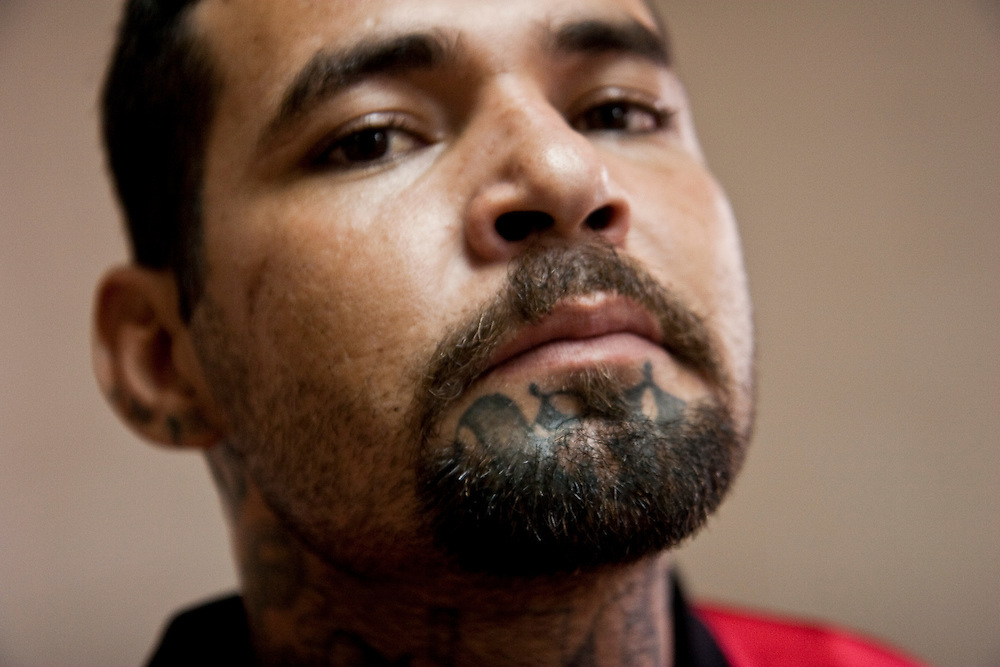 A 18th street gang member in Cojutepecque prison.