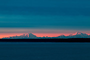 Mt Denali, Mt. Foraker and Mt. Hunter from Pt. Woronzof at sunset.