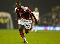 Photo: Daniel Hambury.<br />Fulham v Charlton Athletic. The Barclays Premiership. 16/10/2006.<br />Charlton's Darren Bent on the chase.