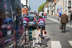 Lisa Morzenti (ITA) of BePink Cycling Team warms up for Liege-Bastogne-Liege - a 136 km road race, between Bastogne and Ans on April 22, 2018, in Wallonia, Belgium. (Photo by Balint Hamvas/Velofocus.com)