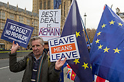 As Prime Minister Theresa May prepares to sell her Brexit deal ahead of five days of debate and eventual vote in parliament, both pro-EU Remainers and Brexiteers protest their ideals outside the House of Commons, on 4th December 2018, in London, England. This week will be a vital step for May's Premiership and the UK's Brexit status.