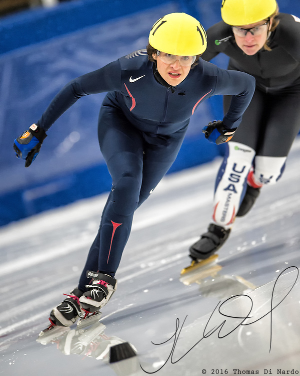 March 18, 2016 - Verona, WI - Elysia Krieger, skater number 101 competes in US Speedskating Short Track Age Group Nationals and AmCup Final held at the Verona Ice Arena.