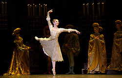 Evgenia Obraztsova - Russian ballerina who dances as Prima ballerina with the Bolshoi Ballet in Moscow has flown into Britain to guest as Odette in Swan Lake with her first performance on 16th March 2015. <br /> <br /> She is pictured here dancing with the Royal Ballet in 2013 in Romeo & Juliet with Steven McRae. <br /> <br /> Romeo & Juliet <br /> The Royal Ballet <br /> at The Royal Opera House, Covent Garden, London, Great Britain <br /> general rehearsal <br /> 19th October 2013 <br /> <br /> <br /> Evgenia Obraztsova as Juliet <br /> Steven McRae as Romeo <br /> <br /> <br /> Photograph by Elliott Franks