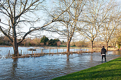 ©Licensed to London News Pictures 23/12/2019. <br /> Eynsford ,UK. Fields flooded next to the River.  The River Darent water levels have continued to rise this morning causing flooding to parts of Eynsford Village in Kent. Photo credit: Grant Falvey/LNP