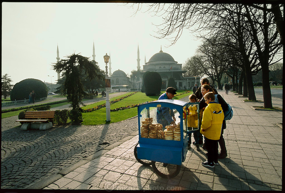 Hot pretzels on offer near the Blue Mosque, Istanbul, Turkey. (From a photographic gallery of street food images, in Hungry Planet: What the World Eats, p. 130)