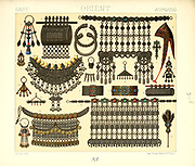 Ancient Oriental necklaces and jewelry from Geschichte des kostums in chronologischer entwicklung (History of the costume in chronological development) by Racinet, A. (Auguste), 1825-1893. and Rosenberg, Adolf, 1850-1906, Volume 5 printed in Berlin in 1888