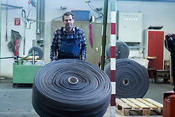 Mature man working in the steel wool cleaner industry, Lahr, Baden-Wuerttemberg, Germany