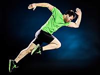 one caucasian man runner running jogger jogging isolated on black background