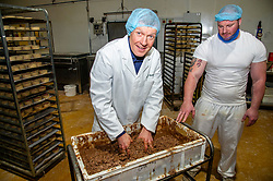 Pictured: Willie Rennie and Assistant Bakeryt manager Mickey Wilson<br /><br />Scottish Liberal Democrat leader Willie Rennie was busy making pies and bridies today while discussing how voters stop a second independence referendum on a visit to Stuart Bakery. in  Methil<br /><br />Ger Harley | EEm 6 December 2019