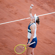 PARIS, FRANCE June 10. Barbora Krejcikova of the Czech Republic celebrates her victory against Maria Sakkari of Greece on Court Philippe-Chatrier during the semi finals of the Women's singles competition at the 2021 French Open Tennis Tournament at Roland Garros on June 10th 2021 in Paris, France. (Photo by Tim Clayton/Corbis via Getty Images)