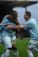 Photo: Tony Oudot/Sportsbeat Images.<br /> Watford v Colchester United. Coca Cola Championship. 10/11/2007.<br /> Kevin Lisbie of Colchester celebrates his goal which put Colchester ahead