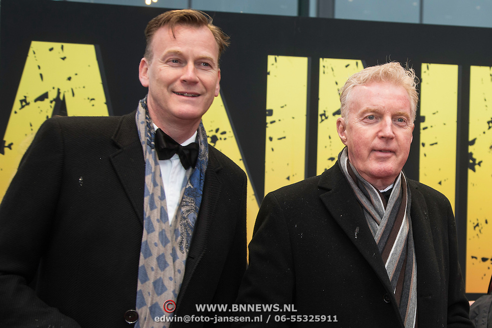 NLD/Amsterdam/20140508 - Wereldpremiere Musical Anne, Andre van Duin en partner Martin Elferink