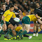 Anthony Faingaa, Australia, in action during the New Zealand V Australia Semi Final match at the IRB Rugby World Cup tournament, Eden Park, Auckland, New Zealand, 16th October 2011. Photo Tim Clayton...