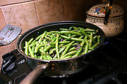Green beans recovered from dumping sites around the island of Manhattan, New York, NY., being cooked during a Freegan dinner, on Friday, July 7, 2006. Freegans are a community of people who aims at recovering wasted food, books, clothing, office supplies and other items from the refuse of retail stores, frequently discarded in brand new condition. They recover goods not for profit, but to serve their own immediate needs and to share freely with others. According to a study by a USDA-commissioned study by Dr. Timothy Jones at the University of Arizona, half of all food in the United States is wasted at a cost of $100 billion dollars every year. Yet 4.4 million people in the United States alone are classified by the USDA as hungry. Global estimates place the annual rate of starvation deaths at well over 8 million. The massive waste generated in the process fills landfills and consumes land as new landfills are built. This waste stream also pollutes the environment, damages public health as landfills chemicals leak into the ground, and incinerators spew heavy metals back into the atmosphere. Freegans practice strategies for everyday living based on sharing resources, minimizing the detrimental impact of our consumption, and reducing and recovering waste and independence from the profit-driven economy. They are dismayed by the social and ecological costs of an economic model where only profit is valued, at the expense of the environment. In a society that worships competition and self-interest, Freegans advocate living ethical, free, and happy lives centred around community and the notion that a healthy society must function on interdependence. Freegans also believe that people have a right and responsibility to take back control of their time.