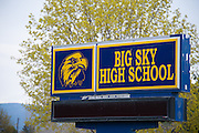 The sign at the entrance to Big Sky High School on May 2, 2014, where Diren Dede, a German exchange student studied and played soccer.
