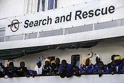October 13, 2017 - Palermo, Italy - The Aquarius (SOS Mediterranee) ship arrived at the port of Palermo, Italy on October 13, 2017 carrying 606 migrants. Red Cross workers gave medical care as they disembarked. (Credit Image: © Antonio Melita/Pacific Press via ZUMA Wire)