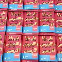 Nederland,Amsterdam ,24 augustus 2007..Op de tentoonstelling El Hema wordt een Arabische tegenhanger van de winkel getoond..El Hema verkoopt halal rookworst, Arabische chocoladeletters, een Arabische Jip en Janneke, voordelige hoofddoekjes van goede kwaliteit en drie palestijnensjaals voor de prijs van twee...Foto:Jean-Pierre Jans