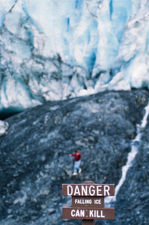 Alaska. Exit Glacier. Visitors enjoy the massive ice of Exit Glacier, just seven miles outside of Seward.