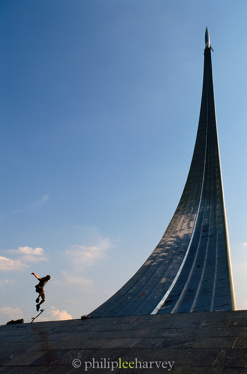 Skateboarder at the Momument to the Conquerors of Space, Moscow, Russia