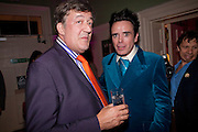 STEPHEN FRY; SEBASTIAN HORSLEY;, First night party for Dandy In The Underworld which opened at the  Soho Theatre, 21 Dean Street. House Of St Barnabas, 1 Greek Street, 15 June 2010. -DO NOT ARCHIVE-© Copyright Photograph by Dafydd Jones. 248 Clapham Rd. London SW9 0PZ. Tel 0207 820 0771. www.dafjones.com.
