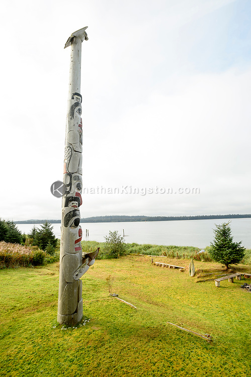 A house frontal totem pole in, Haida Gwaii, British Columbia.