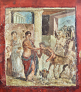Roman fresco wall painting of Pirithous with Hippodamia at a wedding who revieving homage from a centaur, the wedding degenerated into a fight after centaurs kidnapped the Lapith women and Theseus had to intervene to calm the situation, Pompeii , inv 9044 , Naples National Archaeological Museum .<br /> <br /> If you prefer to buy from our ALAMY PHOTO LIBRARY  Collection visit : https://www.alamy.com/portfolio/paul-williams-funkystock - Scroll down and type - Roman Fresco Naples  - into LOWER search box. {TIP - Refine search by adding a background colour as well}.<br /> <br /> Visit our ROMAN ART & HISTORIC SITES PHOTO COLLECTIONS for more photos to download or buy as wall art prints https://funkystock.photoshelter.com/gallery-collection/The-Romans-Art-Artefacts-Antiquities-Historic-Sites-Pictures-Images/C0000r2uLJJo9_s0