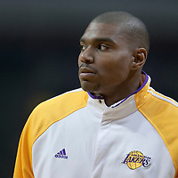 15 December 2009: Los Angeles Lakers center Andrew Bynum is seen prior to the Los Angeles Lakers 96-87 victory over the Chicago Bulls at the United Center, in Chicago, Illinois, USA.