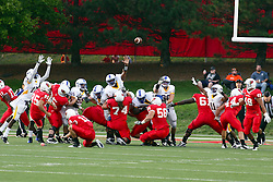 10 September 2011: general field action on a field goal attempt by Nick Aussieker during an NCAA football game between the Morehead State Eagles and the Illinois State Redbirds at Hancock Stadium in Normal Illinois.