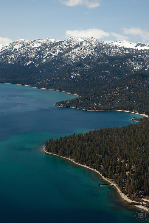 """""""Lake Tahoe West Shore Aerial"""" - Aerial photograph from a plane over the West Shore of Lake Tahoe, CA."""