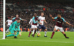 4 January 2018 - Premier League Football - Tottenham Hotspur v West Ham United - Angelo Ogbonna Obinze of West Ham, Harry Kane of Tottenham and Winston Reid of West Ham watch as the ball rolls straight into the arms of West Ham goalkeeper Adrian - Photo: Charlotte Wilson / Offside