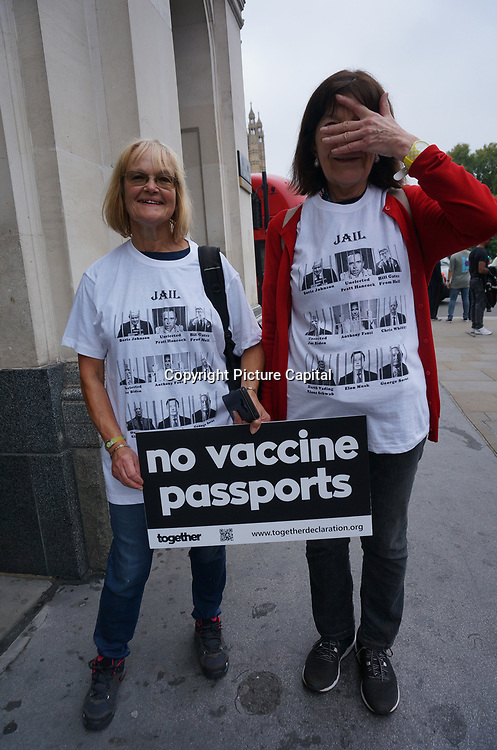 """Marching for medical freedom keeping up the pressure #Uniteforfreedom """"No Vaccine Passport"""". Protestors are not happy not allow into centre London, UK on 25th September 2021."""