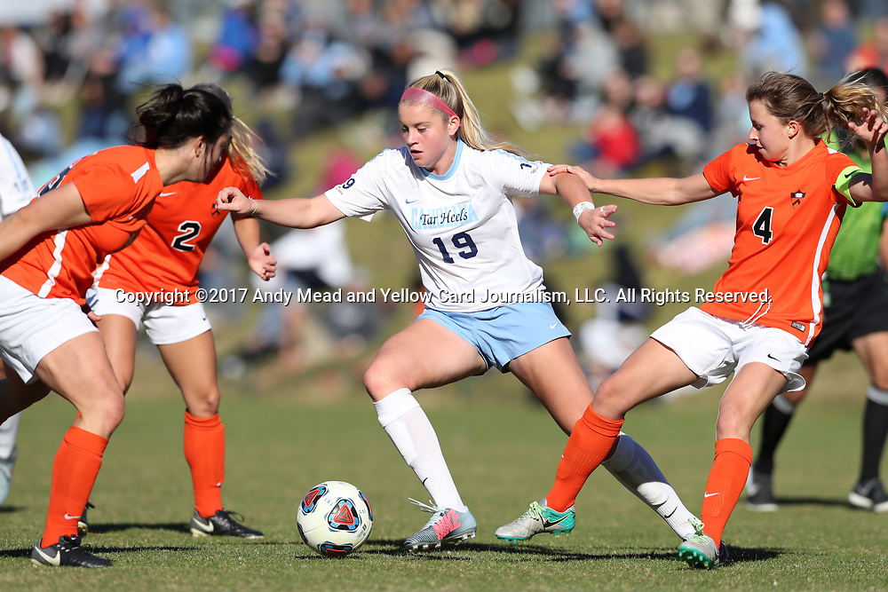 CARY, NC - NOVEMBER 19: North Carolina's Alessia Russo (ENG) (19) and Princeton's Vanessa Gregoire (CAN) (4). The University of North Carolina Tar Heels hosted the Princeton University Tigers on November 19, 2017 at Koka Booth Stadium in Cary, NC in an NCAA Division I Women's Soccer Tournament Third Round game. Princeton won 2-1 in sudden death overtime.