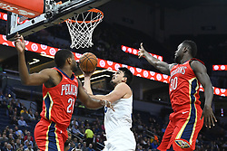 November 14, 2018 - Minneapolis, MN, USA - The Minnesota Timberwolves' Dario Saric scored a basket between the New Orleans Pelicans' Darius Miller (21) and Julius Randle (30) in the first quarter on Wednesday, Nov. 14, 2018, at Target Center in Minneapolis. (Credit Image: © Aaron Lavinsky/Minneapolis Star Tribune/TNS via ZUMA Wire)